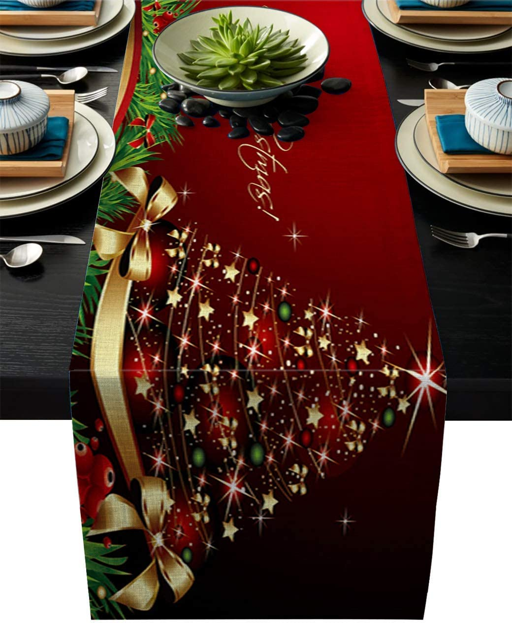 Cloud Dream Home Cotton Linen Table Runner Merry Xmas Table Setting Decor Christmas Tree, Green Red for Garden Wedding Parties Dinner Decoration - 16 x 72 inches