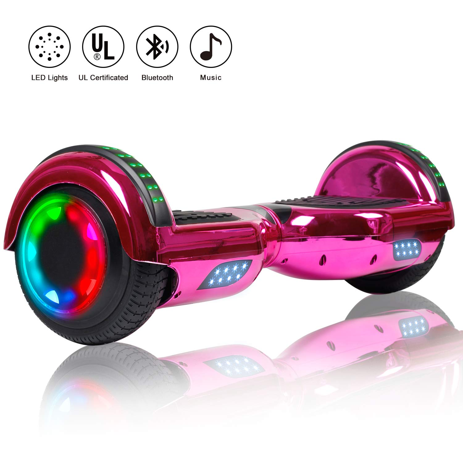 Felimoda Hoverboard 6.5 inch w/Bluetooth Speaker and LED Wheels Side Lights- UL2272 Certified (Chrome Rose Red(with Bluetooth))