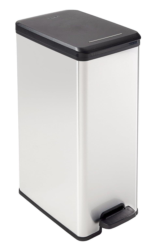 Curver 02339-582-00 Deco Abfalleimer Slim 25 L, Plastik, schwarz/Silber metallic, 39,29 x 25 x 45,4 cm