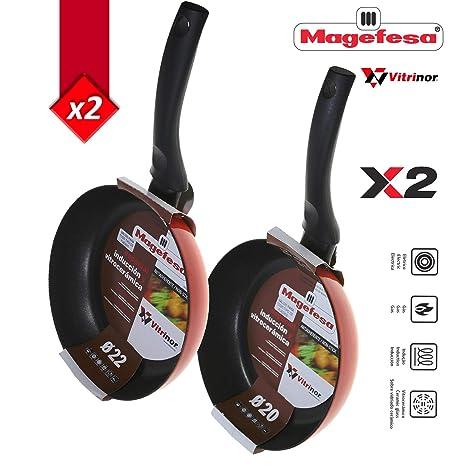 Magefesa Pack DE 2 Sartenes Mod.Fuego Cocina Mediterranea Validas para Todos los Fuegos