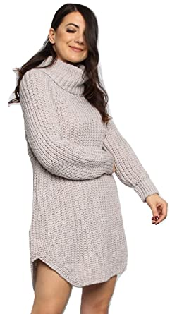 6e9bfe4de903 Momo Ayat Fashions Ladies Roll Neck Chunky Knitted Jumper Dress US Size  4-10 (Beige