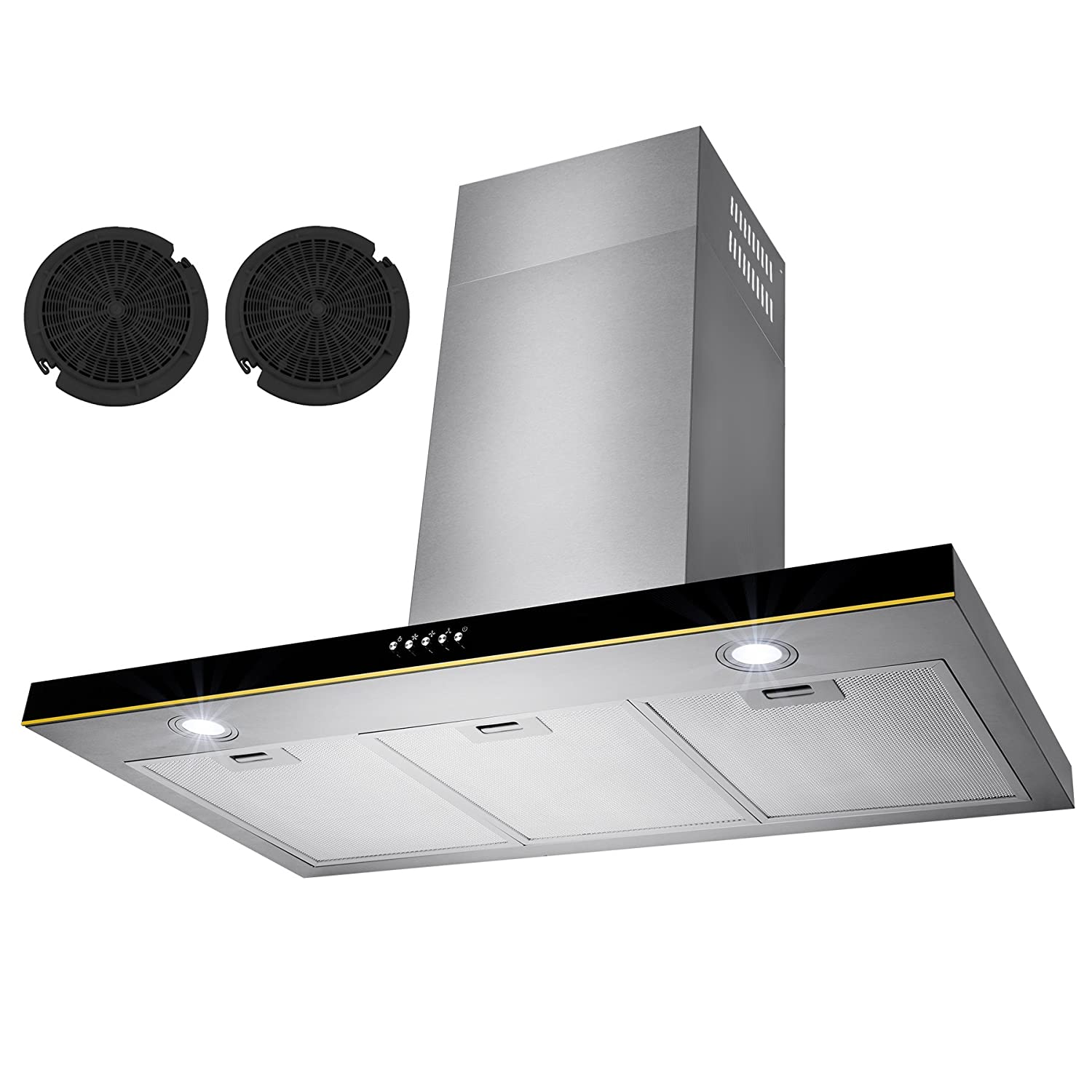 "Golden Vantage 36"" Stainless Steel Wall Mount Range Hood Control Light Lamp Kitchen Vents GV-RH0189"