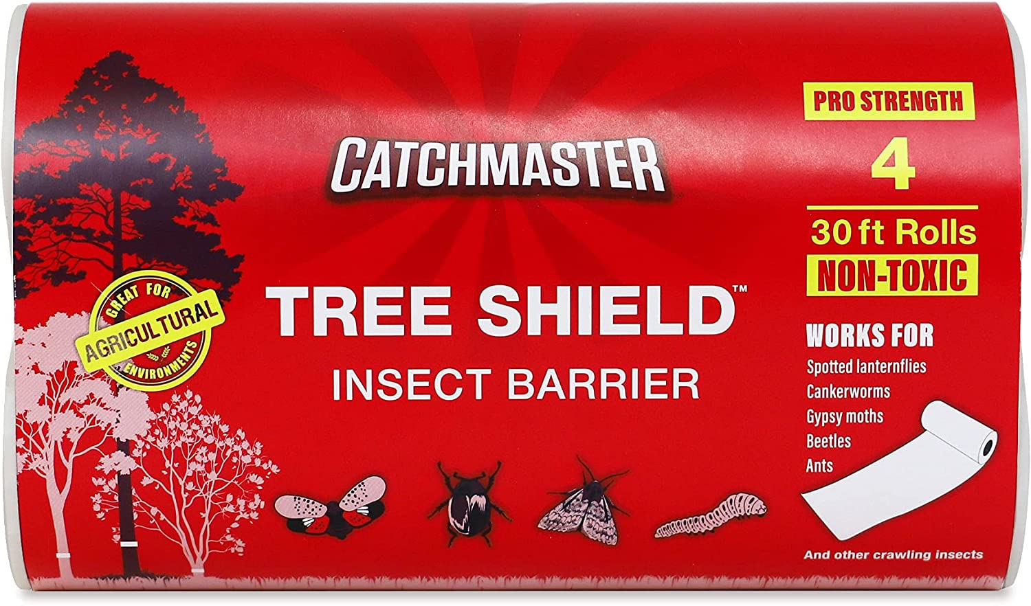 Catchmaster Tree Banding Shield / Protection Sticky Fly Tape Tree Insect Barrier Rolls - 4 Roll Pack
