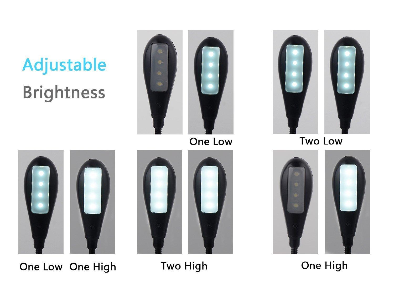 8 LED Luz de lectura LED recargable Luz por atril recargable doble cabeza