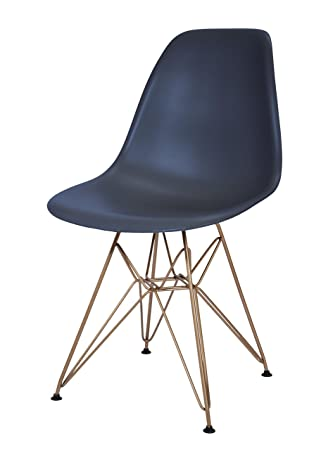 Design Guild Banks Navy Blue Chair With Gold Legs