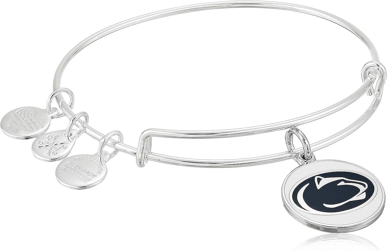 Alex and Ani Women's Color Infusion Pennsylvania State University Logo EWB Bracelet, Shiny Silver, Expandable