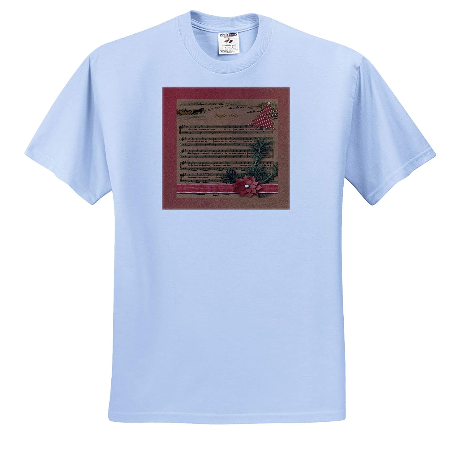 Sled with Horse in Snow 3dRose Beverly Turner Christmas Design T-Shirts Red Dotted Tree Jingle Bell Music Sheet