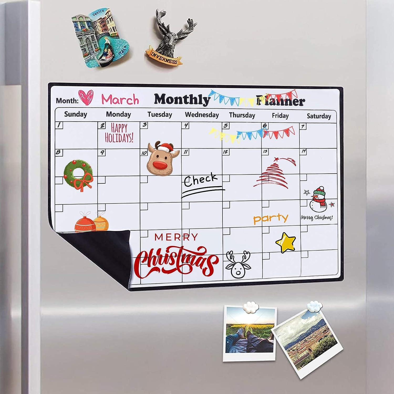 ZhenS Tableau blanc hebdomadaire//mensuel tableau blanc pour r/éfrig/érateur avec gomme et marqueurs calendrier magn/étique pour r/éfrig/érateur Organiseur de liste de t/âches 42 x 30 cm
