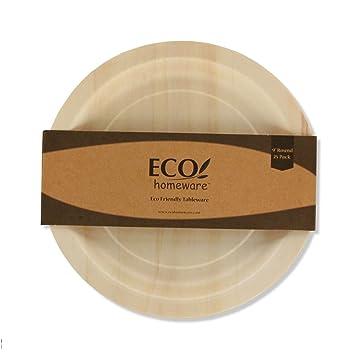 Disposable Wood Plates 9\u0026quot; Round \u2013 50Pk. Natural Eco-Friendly Alternative to Plastic  sc 1 st  Amazon.com & Amazon.com: Disposable Wood Plates 9\