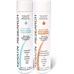 Natural Argan Oil Infused Sulfate Free Shampoo and Conditioner 2 bottles Value Set for Keratin After