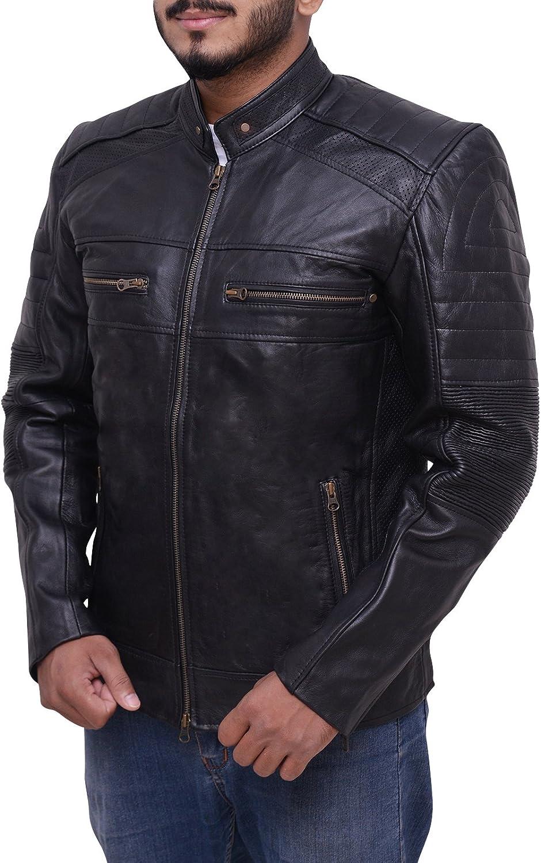 New Mens Cafe Racer 1 Biker Vintage Retro Black Genuine Lambskin Leather Jacket