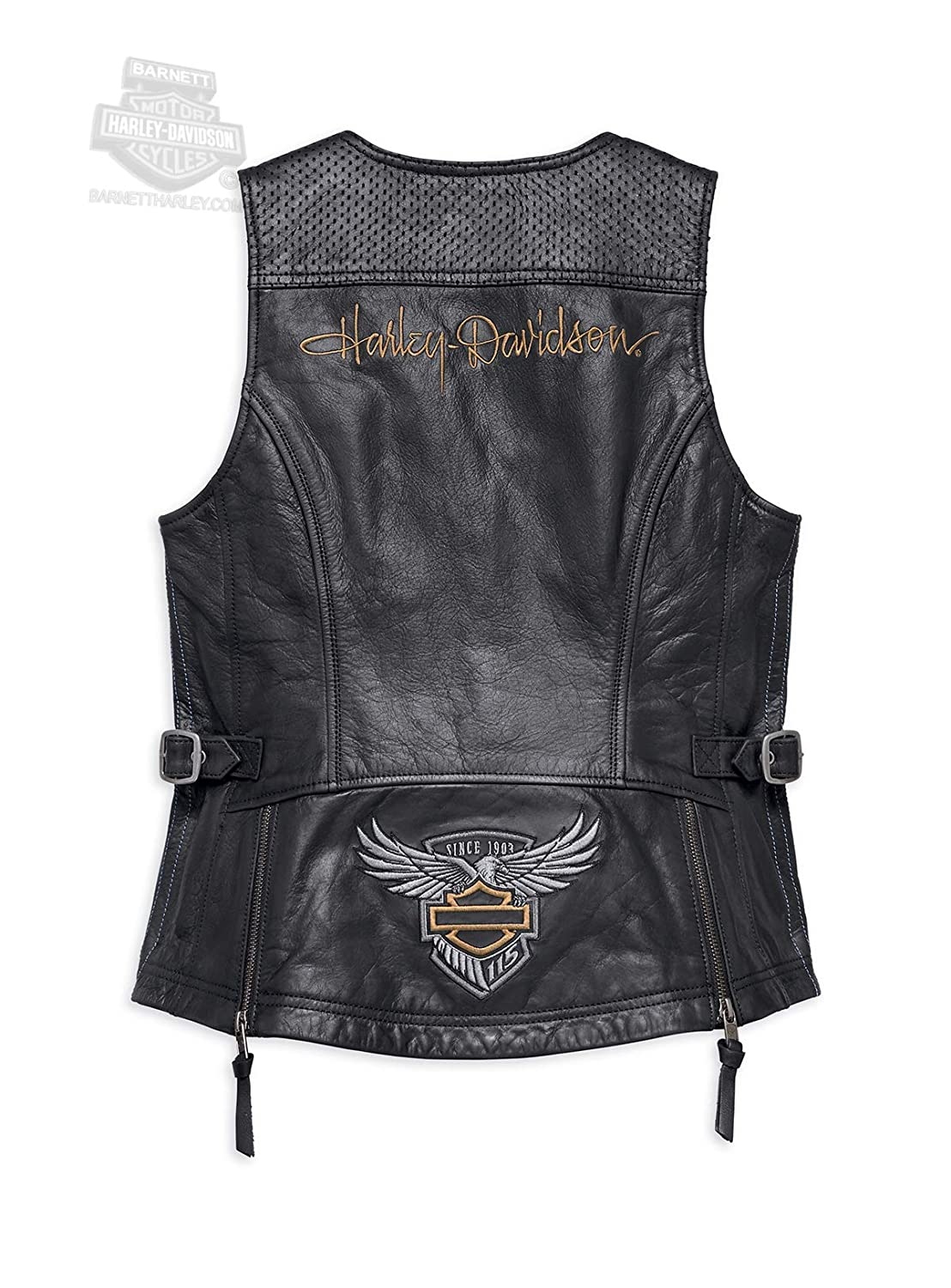 49900b188233 Harley-Davidson Womens 115th Anniversary Perforated Accent Black Vest 98011- 18VW at Amazon Women s Coats Shop
