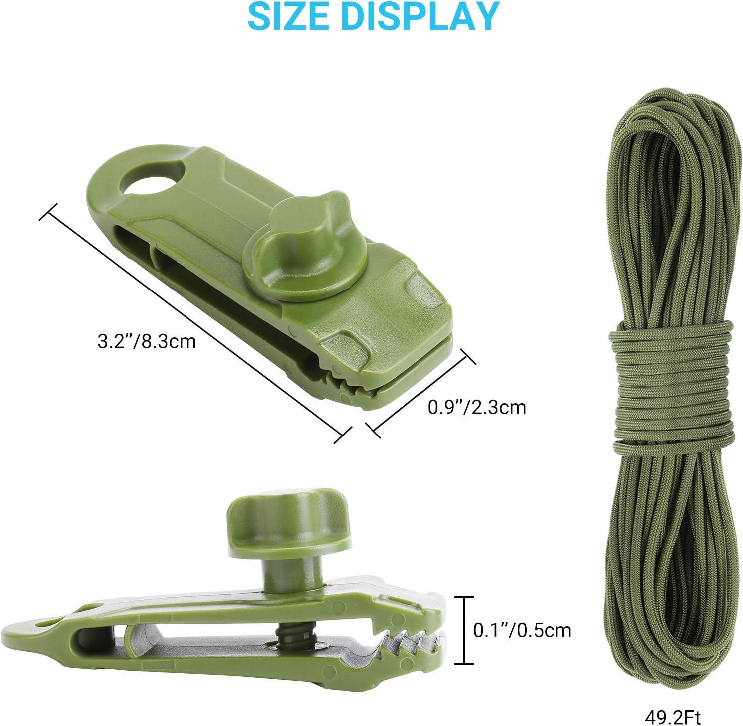 Jixing Tarp Clips coupe-vent pour auvent Colliers de serrage en nylon Vent Corde Clip Tente de camping SE fixe pour activit/és de plein air