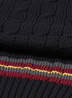 James Charlotte Cricket Cable Vee Slipover Sweater Cotton: Rich Navy
