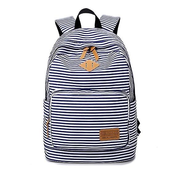 Minetom Tela Tejida Lona Backpack Mochilas Escolares Mochila Escolar Casual Bolsa Viaje Moda Mujer Colorido Rayas