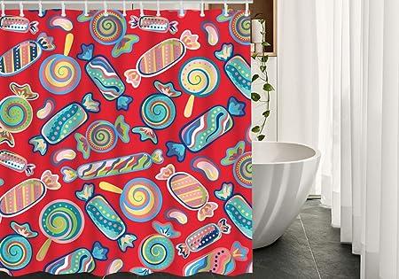 Moslion Migant Candy Shower Curtains Decor Sweet Candies Waterproof