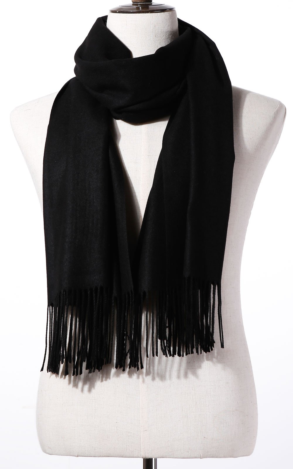 Womens Pashmina Shawl Wrap Scarf - Ohayomi Solid Color Cashmere Stole Extra Large 78''x28'' (Black) by OHAYOMI (Image #2)