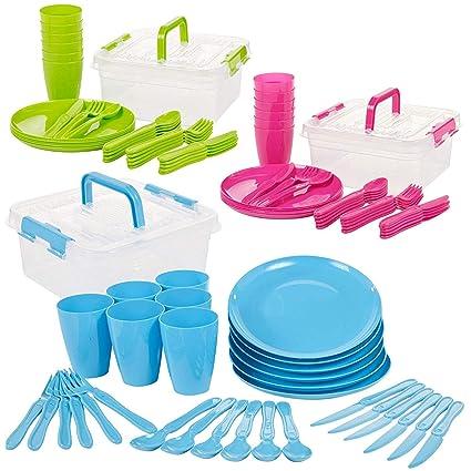 Invero® 93 Piezas Reutilizable plástico Picnic Camping Party Set – Incluye Platos, cucharas, Cuchillos, Folks, Tazas y contenedor de Almacenamiento ...