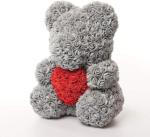 Amosfun 40 cm Rose Bear Rose Flower Artificial Decoration Regalo di San Valentino Regalo Creativo Fai da Te per la Fidanzata Regalo Anniversario di Nozze