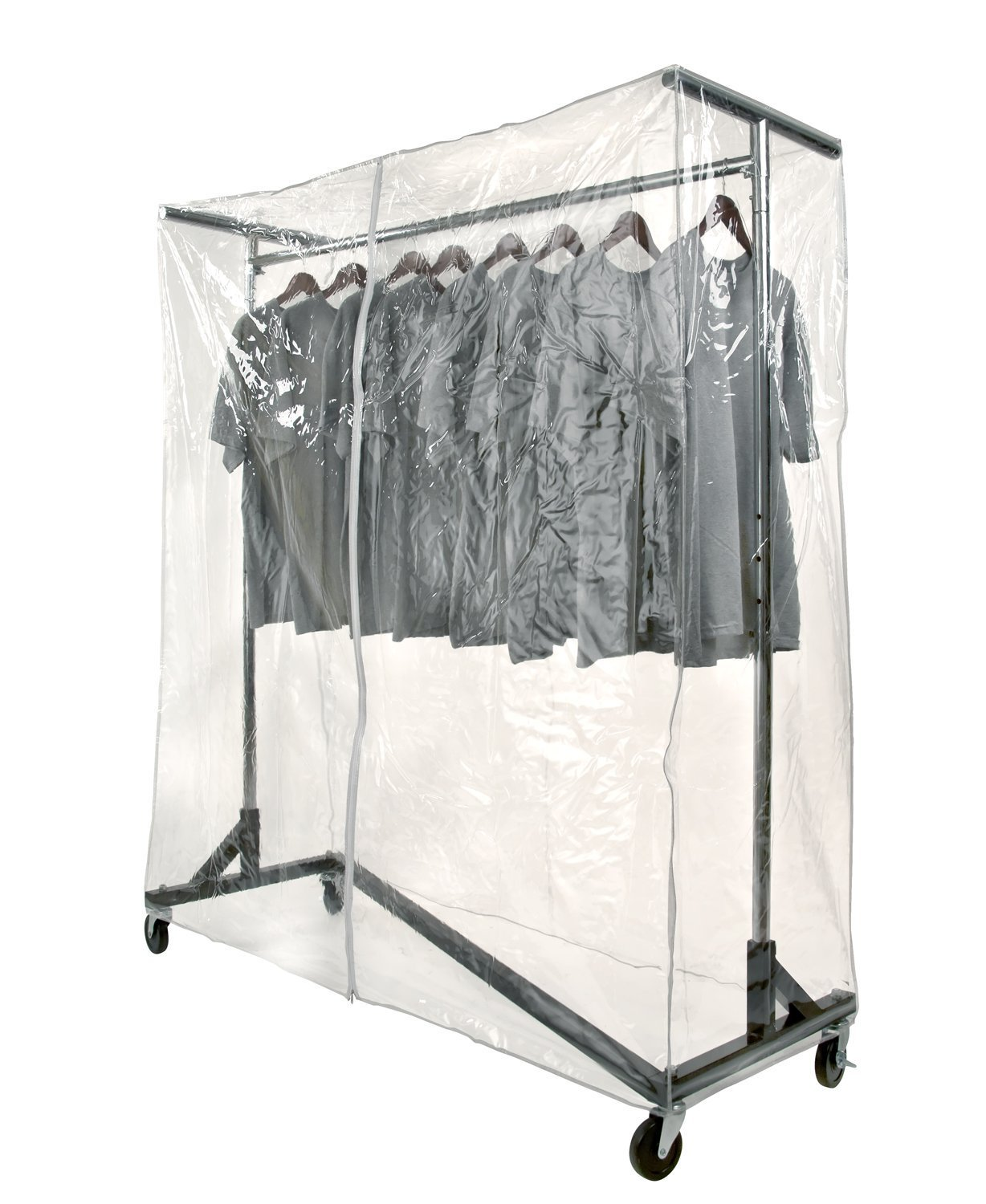 Only Garment Racks SN-022CH + SH102 Clear Z Rack Cover with Support Bars (Rack Sold Separately)