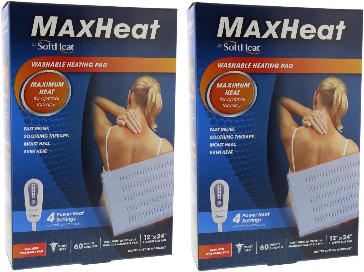 "SoftHeat MaxHeat Washable Heating Pad 12"" x 24"" X-Large Size Pad (2 Pack)"