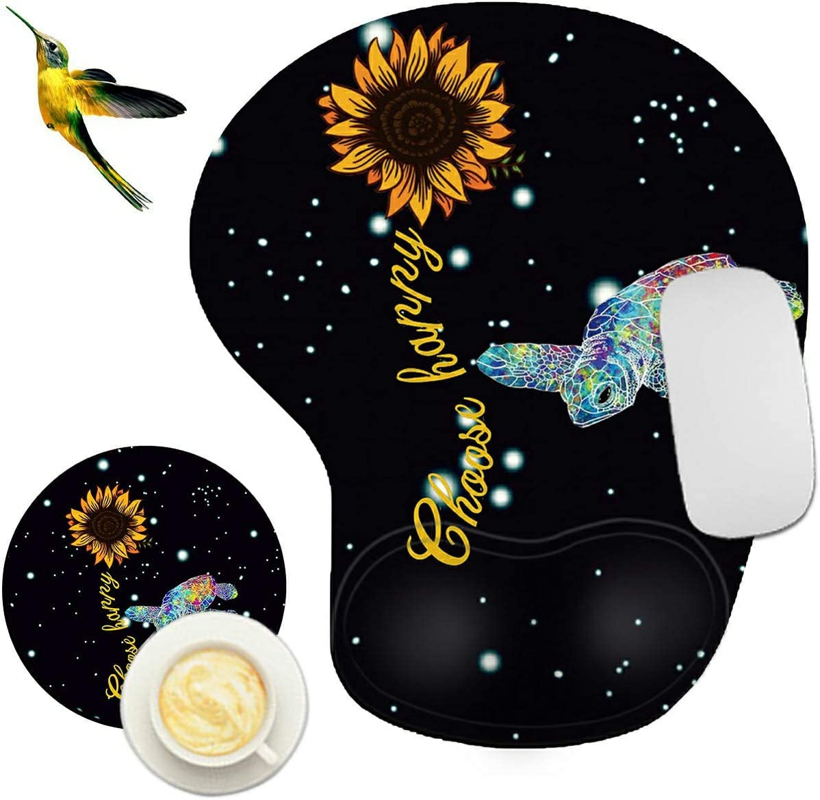 Mouse Pad with Wrist Support Rest,Rossy Sunflowers with Sea Turtle Design Ergonomic Gaming Mousepad Non-Slip Rubber Base Wrist Cushion for Office Computer Laptop + Coasters and Cute Stickers
