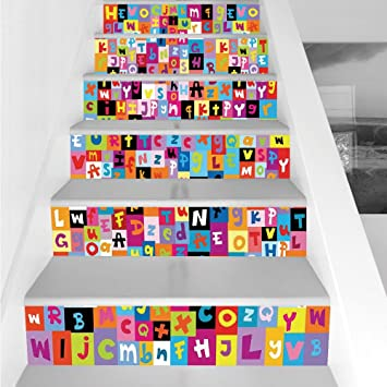 Stair Stickers Wall Stickers6 PCS Self AdhesiveAbstractColored Alphabet Letters