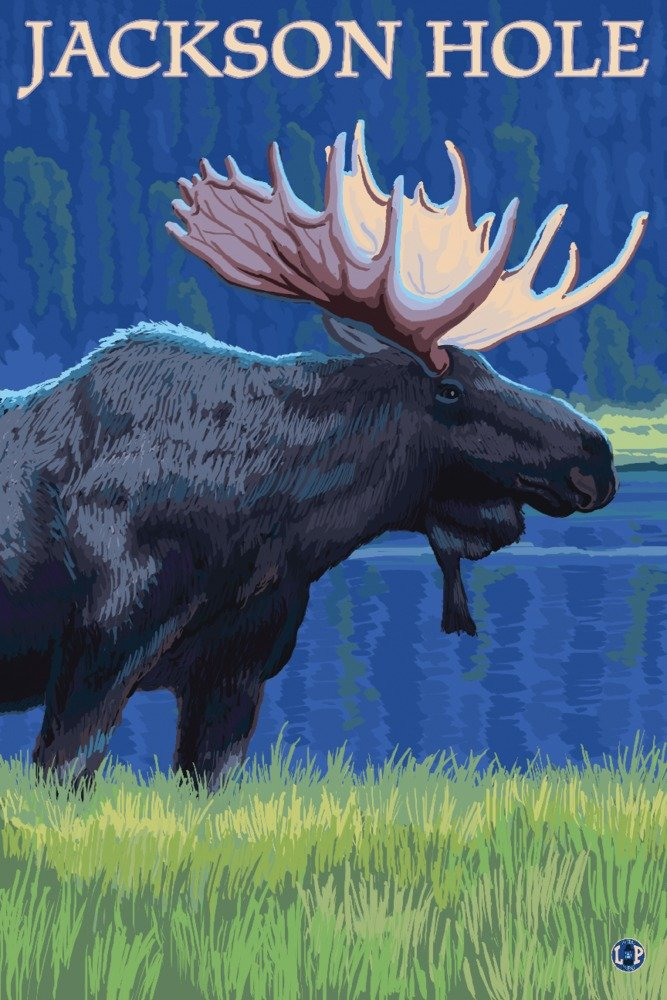 Jackson Hole, Wyoming - Moose at Night (36x54 Giclee Gallery Print, Wall Decor Travel Poster) by Lantern Press