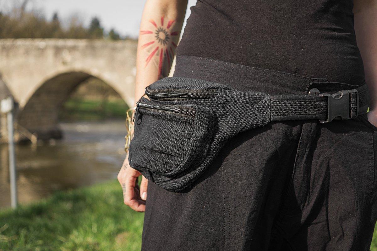 kailash bolso de algod/ón negro con bolsillo interior
