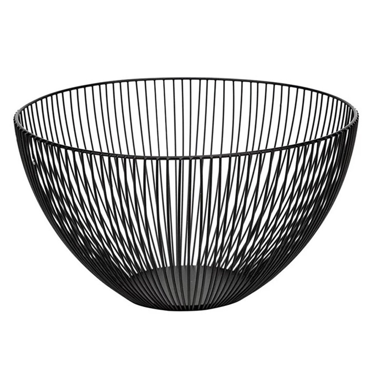 Wire Fruit Basket, Round Black Metal Fruit Vegetable, Egg, Bread Storage Bowl Holder Stand for Kitchen Counter, Cabinet and Pantry - Large