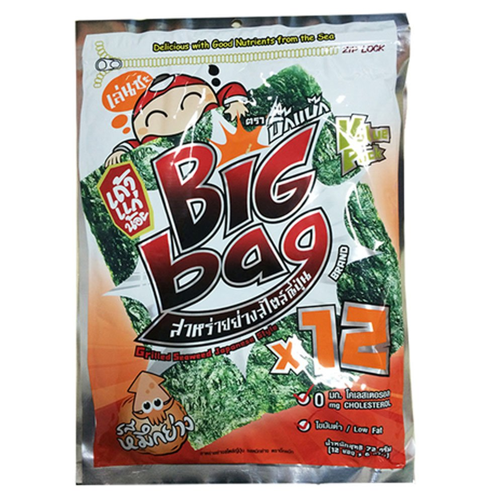 Taokaenoi Seaweed Snacks Most Famous Thai Nori Grilled Crispy Seaweed Sheets Squid Flavour, Big Bag, Value Pack (72g) 12 Sheets