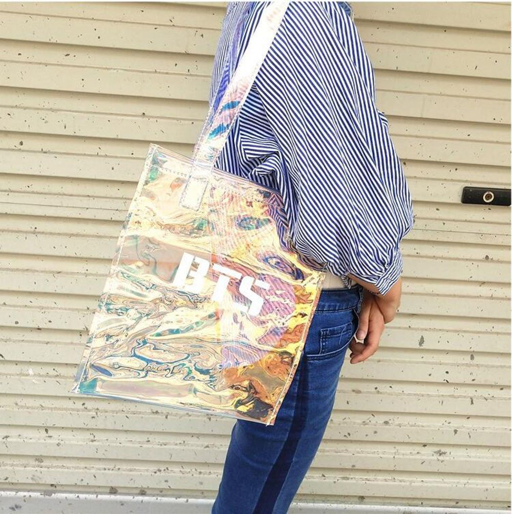 KPOP BTS PVC Transparent Bag Shiny Heavy Duty Clear Tote Bag Luminous Bookbag Handbag for Girls A.R.M.Y
