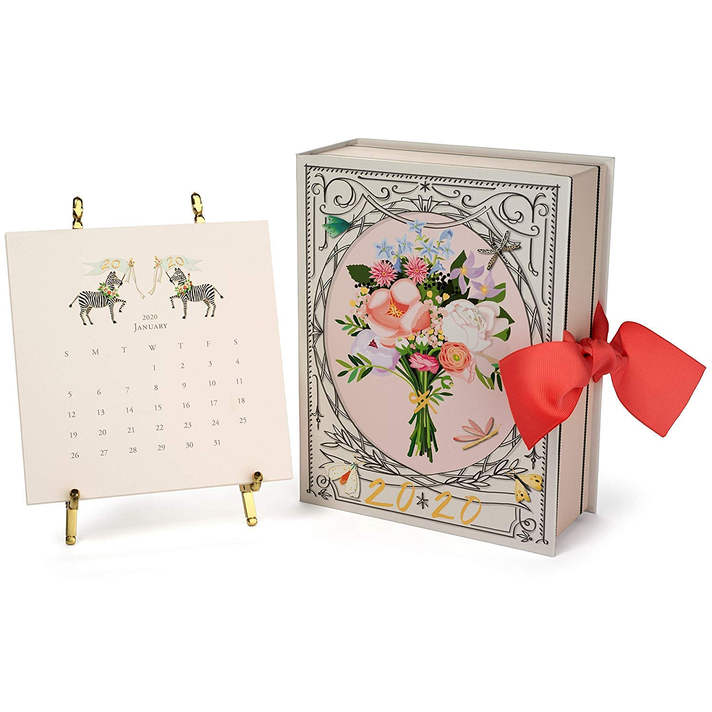 Karen Adams 2020 Desk Calendar 12 Month Gold Easel by Karen Adams Design
