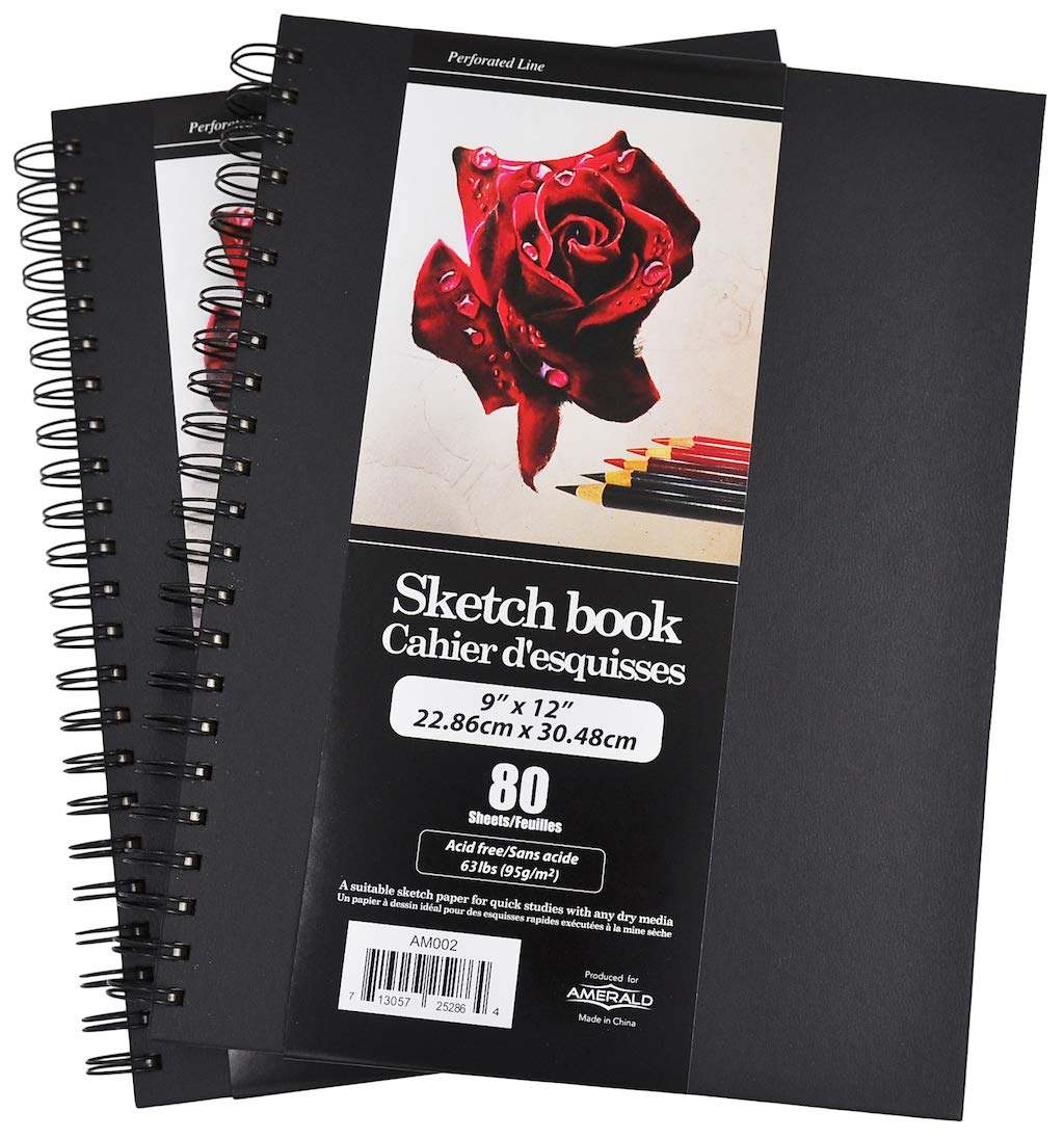 Premium Sketch Books | Heavy Duty Hardcover with Side Wire | Sketching and Drawing Paper | 9''X12'' Size, Total 160 Sheets | Micro-Perforated & Acid Free | Pack of 2