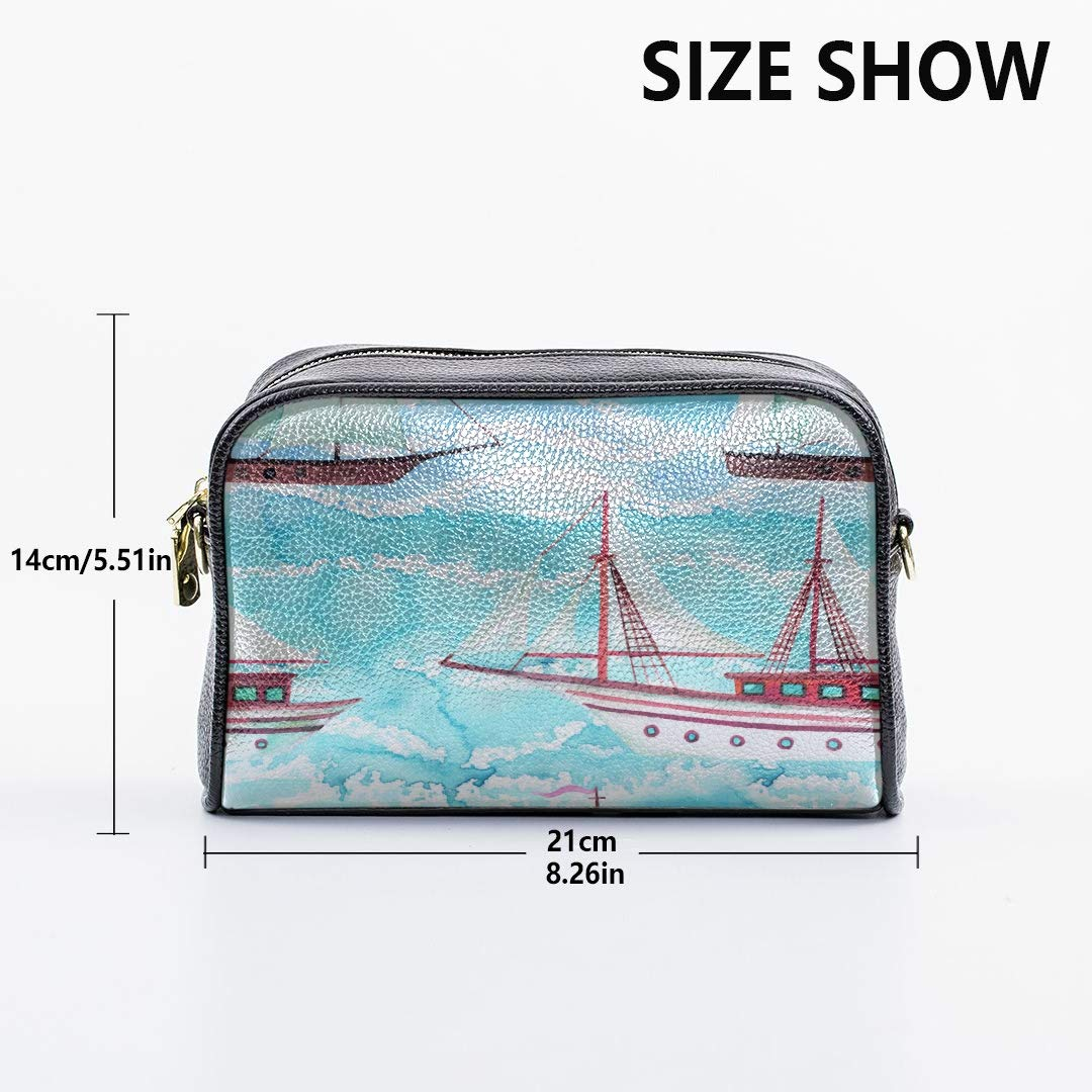 Cartoon Waves And Ships Mens Crossbody Messenger Bag Outdoor Shoulder Bag With Adjustable Long Strap Shoulder Bag For Boys Shoulder Bag Pack Medium Crossbody Bags