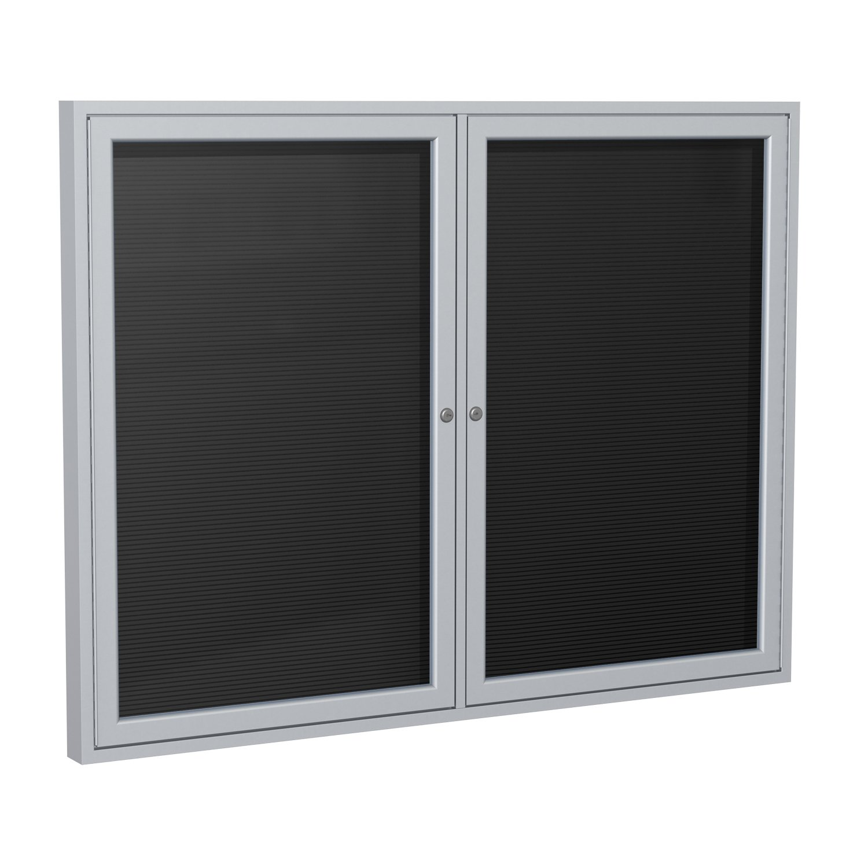 "Ghent 3""x 4"" 2-Door Outdoor Enclosed Vinyl Letter Board, Black, Satin Aluminum Frame"