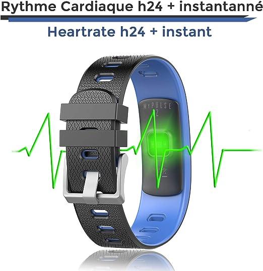 OuiVallée Bracelet connecté écran Couleur MyPulse 2 Marque Française Tracker Activité Physique Bluetooth Capteur Cardiaque Podomètre Sommeil