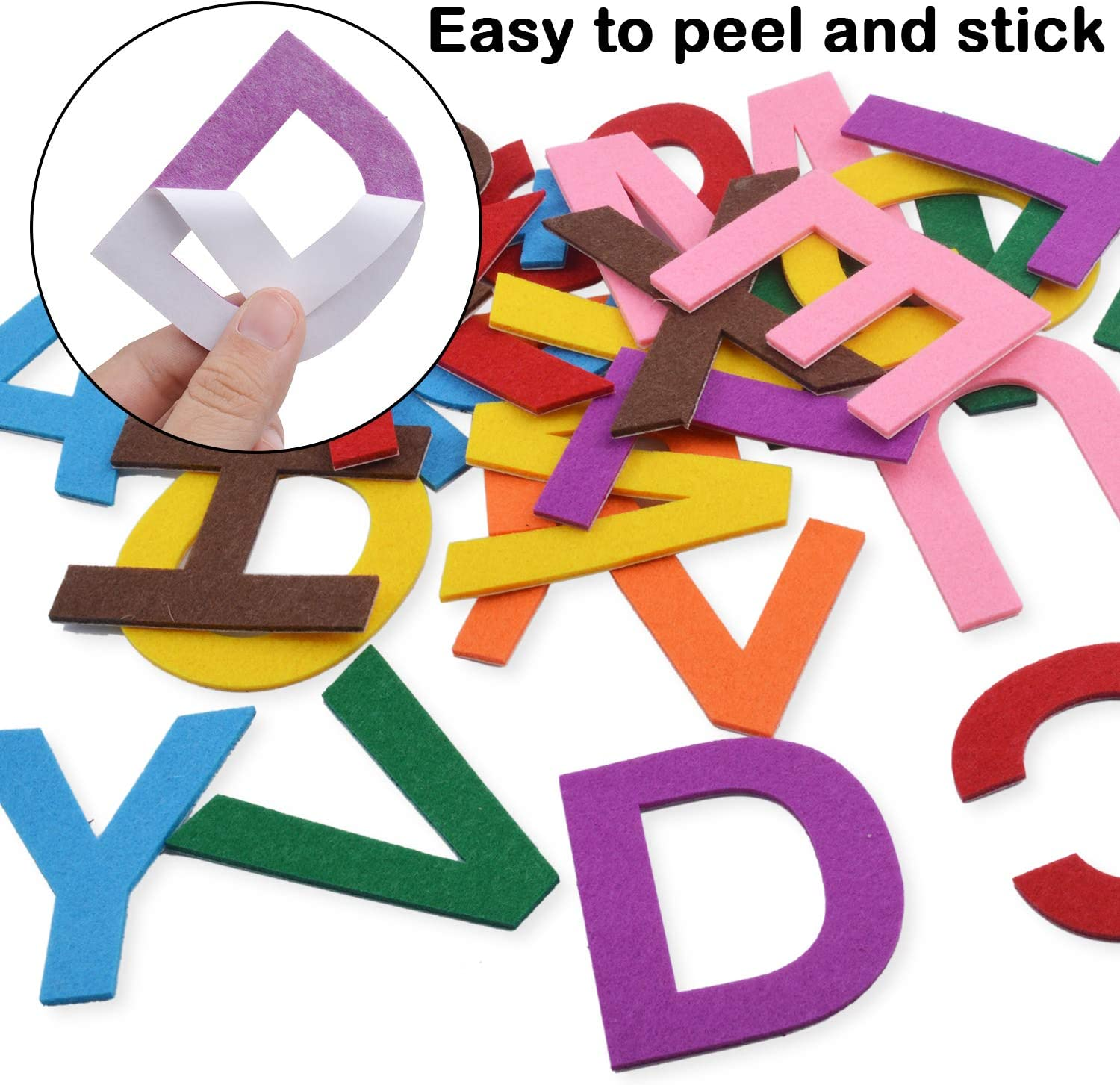 6.5cm Felt Letter Stickers 52 Pieces Self-Adhesive Foam Letters Felt Alphabet Stickers A-Z for Kids Decoration Arts and Crafts 8 Assorted Colors