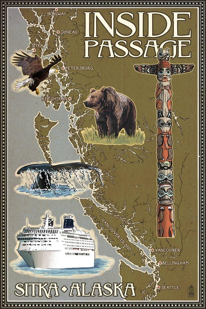 Sitka、アラスカ – Inside Passageマップ 36 x 54 Giclee Print LANT-52701-36x54 36 x 54 Giclee Print  B017EA0NN2
