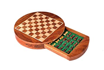 CHESSNCRAFTS 9 Round Wooden Magnetic Travel Chess Set with Drawers and Staunton Pieces.