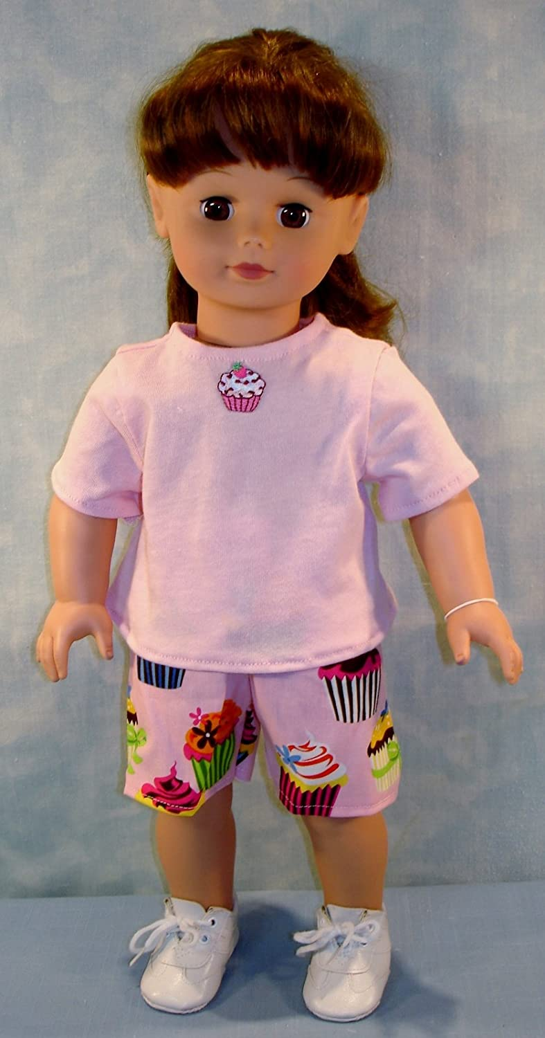 18 Inch Doll Clothes - Chocolate Cherry Cupcakes Shorts Set handmade by Jane Ellen to fit 18 inch dolls