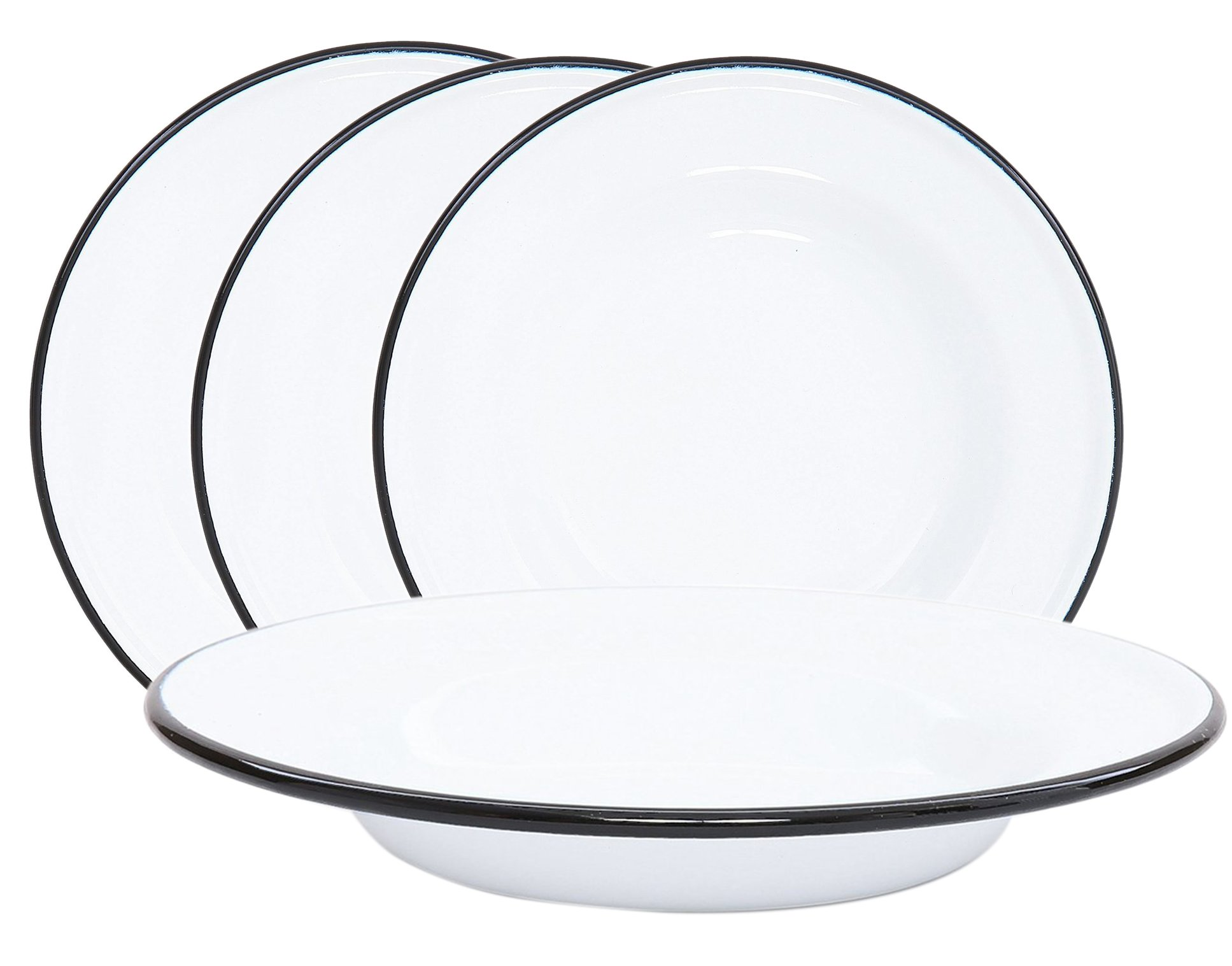 Crow Canyon Enamelware Round Dinner/Salad/Serving Plates, Classic Tableware - Set of 4 - Solid White with Black Rim Color, 8 Inches