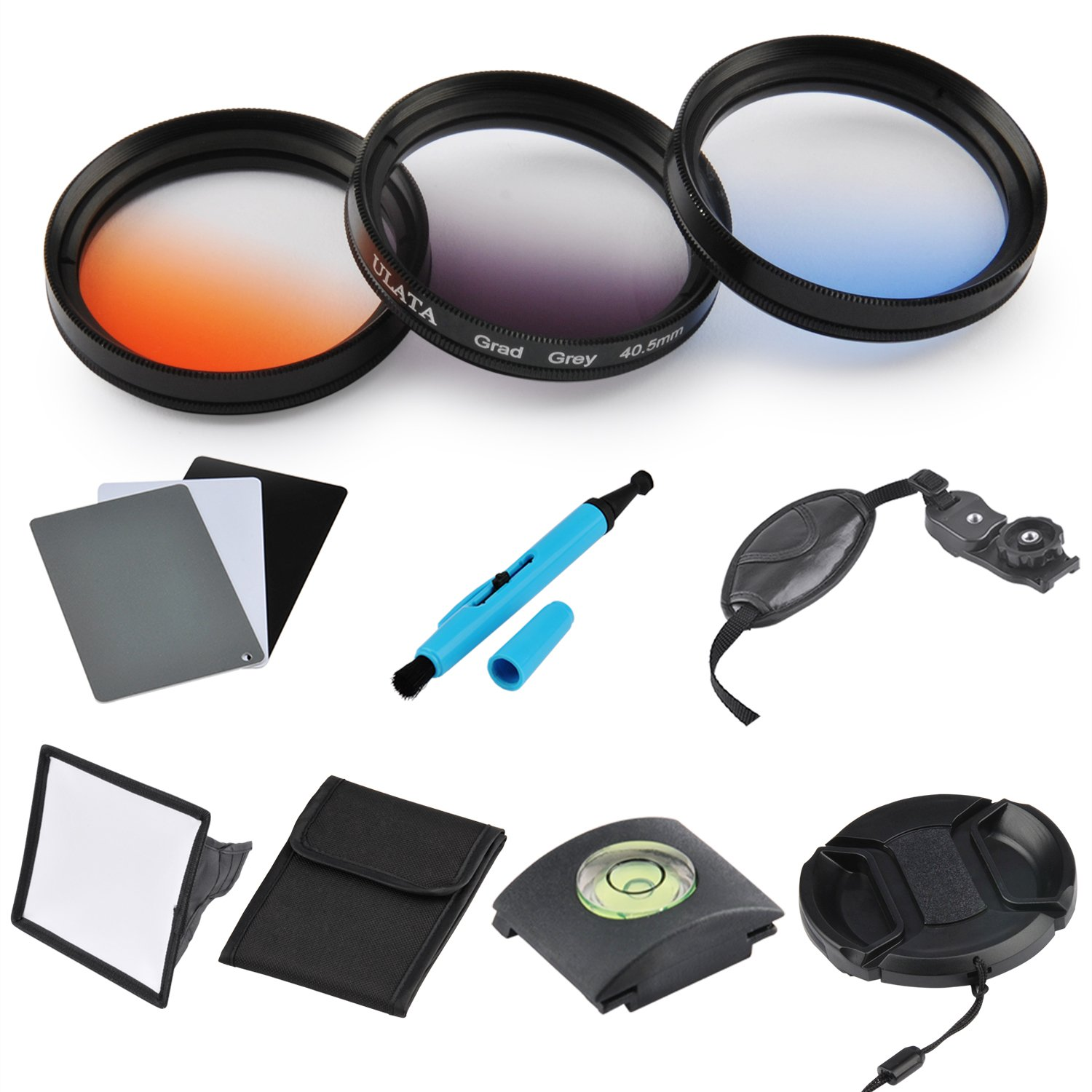 ULATA 40.5mm Orange Blue Gray Color Gradeated Filter Kit Circle Lens Filter For DSLR Camera For For Samsung NX100 NX200 NX210 NX300 Sony A6000 A5100 A5000 by ULATA