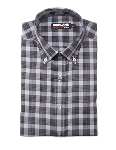 88cab8d8 Kirkland Signature Mens Size Large Non-Iron Sport Shirt, Brown/Multi/Plaids  at Amazon Men's Clothing store: