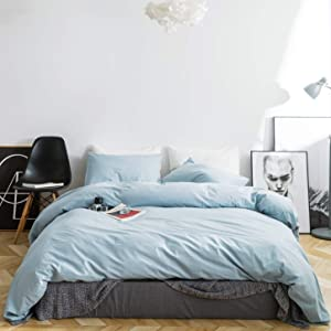 SUSYBAO 3 Pieces Duvet Cover Set 100% Washed Cotton Queen Size Solid Pale Blue Bedding Set with Zipper Ties 1 Simple Design Duvet Cover 2 Pillowcases Luxury Quality Ultra Soft Comfortable Durable