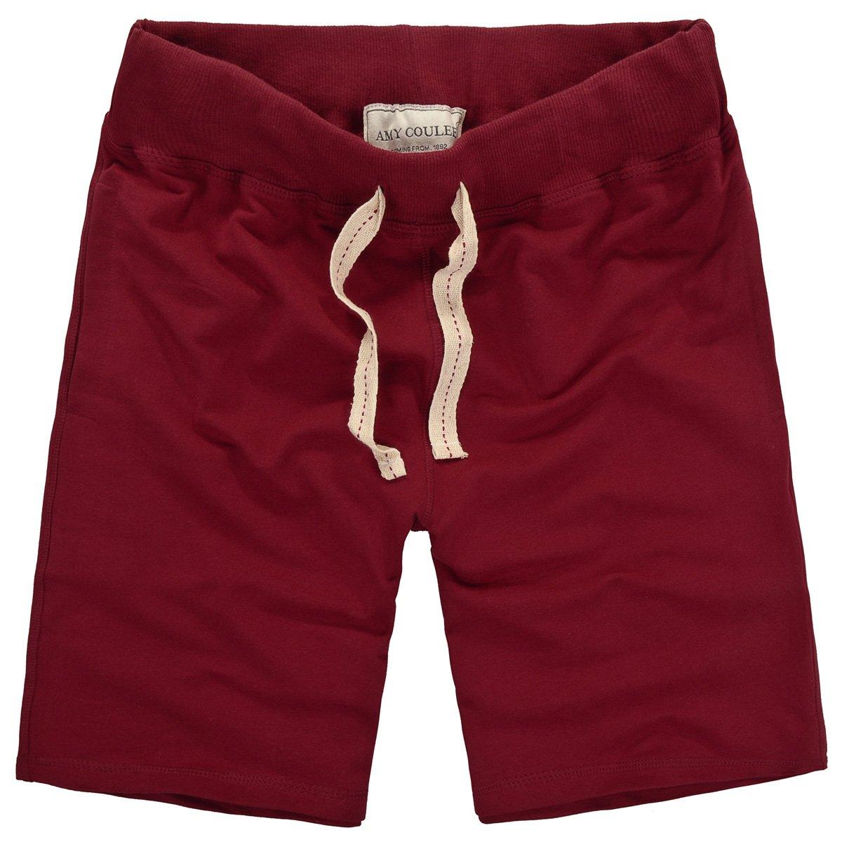Amy Coulee Men's Casual Cotton Short (M, wine)