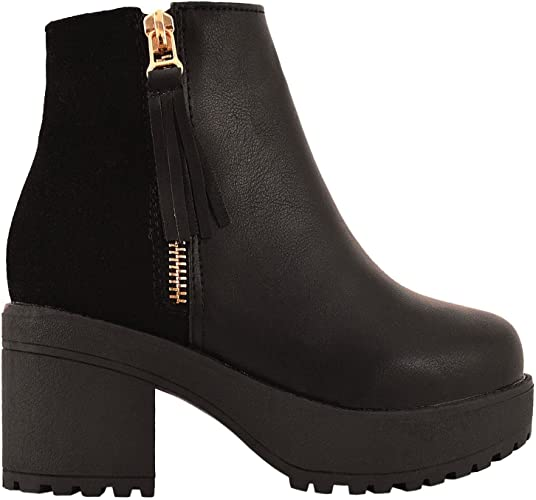 Kids Girls Chunky Mid Heel Ankle Boots