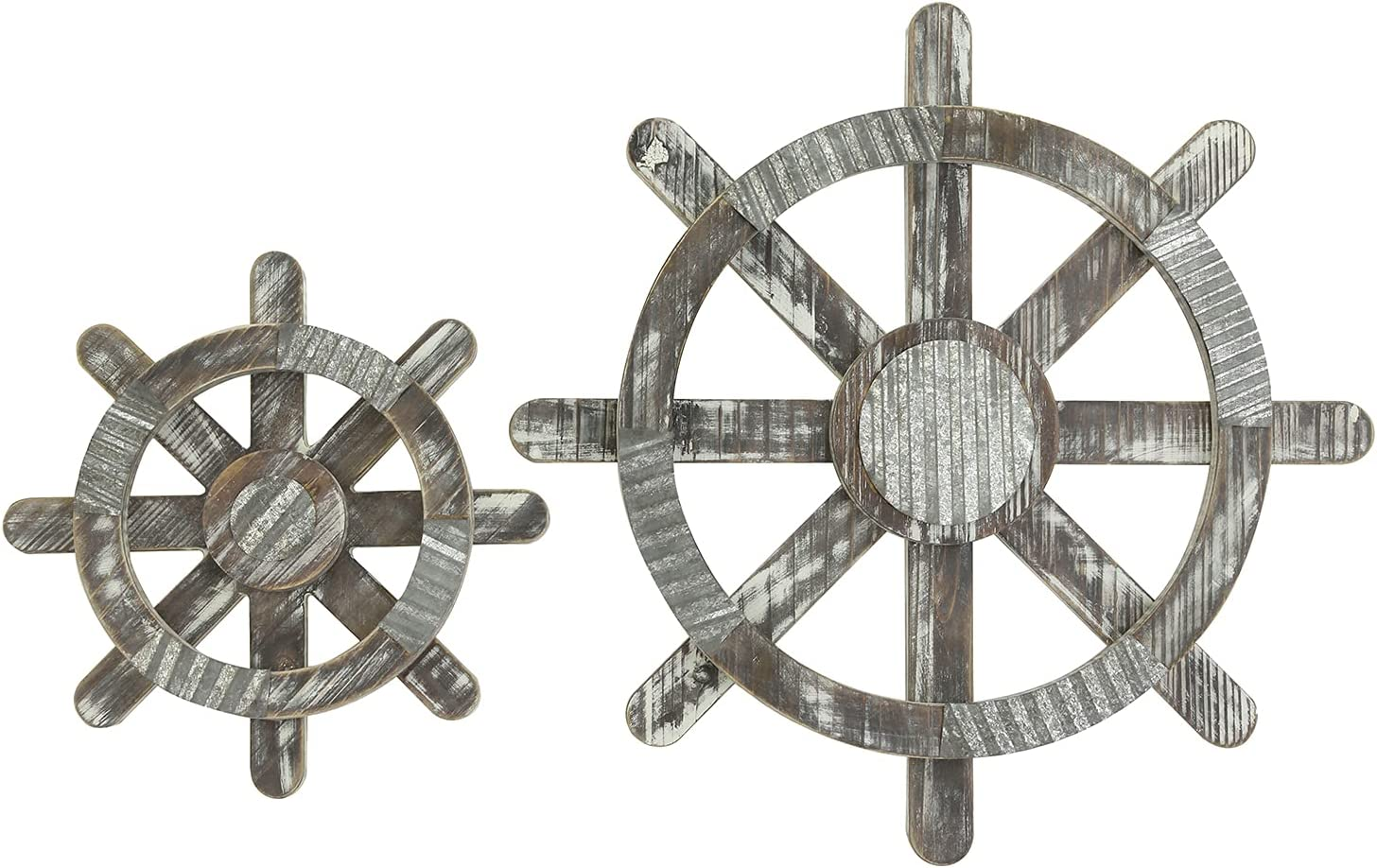 MyGift Wall Mounted Rustic Torched Wood and Galvanized Metal Home Art Nautical Style Hanging Décor Pirate Boat Ship Steering Wheels, Set of 2