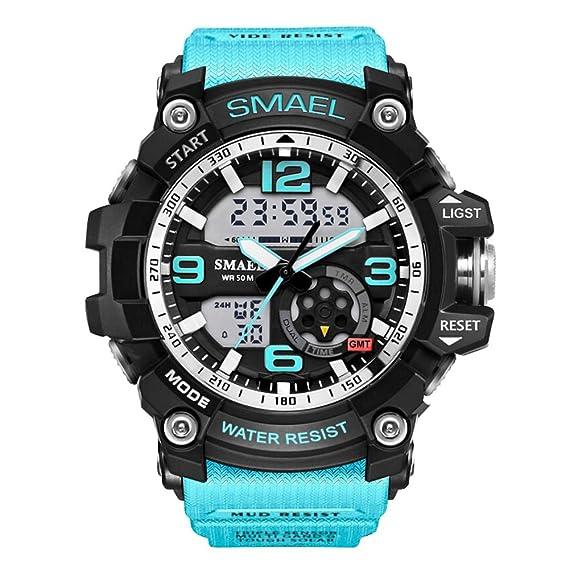 Reloj Impermeable Venda de Goma Azul Deportes para Adolescente de los Hombres: Amazon.es: Relojes
