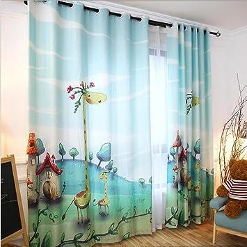 GFYWZ gardinen Kinder Vorhang 3D Giraffe Semi-Schattierung Falte ...